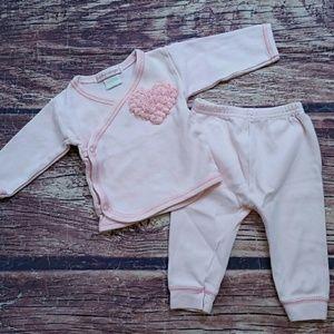Baby Steps pink 2-piece set + hat sz 3m